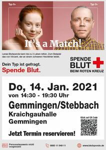 Blutspendeaktion am 14. Januar in der Kraichgauhalle Gemmingen